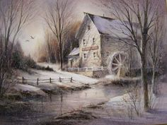 Jensen's Mill by George Bjorkland Art Institute Of Pittsburgh, Barn Art, Water Mill, Winter Painting, Snow Scenes, Beach Scenes, Picture Photo, Places To Go, Landscape