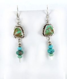 GOLDEN MATRIX GREEN CARICO LAKE TURQUOISE EARRINGS from New World Gems