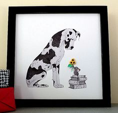Dog Art Print. Limited Edition. Pencil Drawn Great Dane with Baby Mouse and 3D Sunflowers. Dog Lovers Gift. Great Dane Lovers. by QuillArtuk on Etsy