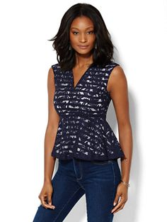 Shop 7th Avenue Design Studio - Lace Overlay Peplum Top . Find your perfect  size online