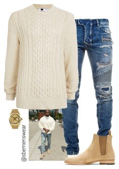 Kanye's Look for Less by efiaeemnxo on Polyvore featuring polyvore Balmain Topman Yves Saint Laurent Rolex men's fashion menswear clothing