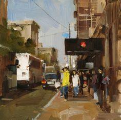 Back to School, painting by Qiang Huang [pronounced Chong Wong] (b1959; Beijing, China; based Austin, TX)