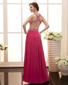 osell wholesale dropship Stylish Ruffle Floor Length Beading Sleeveless V Neck Zipper Satin & Chiffon Prom Dresses $79.23