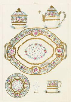 A collection on antique prints from The Soft Porcelain of Sevres, with an historical introduction by Edouard Garnier 1889 Decoupage, Tea Art, China Painting, China Patterns, Antique Prints, Scrapbook Paper Crafts, Vintage China, Pattern Books, Graphic