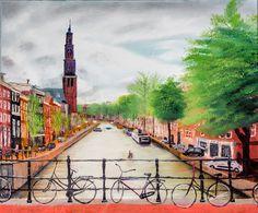 Original oil painting - Amsterdam