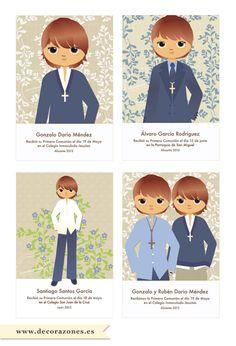 Recordatorios de Comunión personalizados para niños #comuniones #RecordatoriosdeComunión