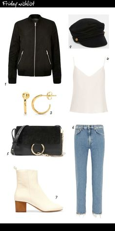 Friday Wishlist: 90's Comeback with Bomber Jacket, Baker boy hat, Hoop earrings, Ankle boots, Frayed jeans, Faye bag from Acne, Isabel Marant, Missoma, Asos, River Island, Chloe.