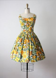 50s dress / vintage autumn garden party dress / por 1919vintage