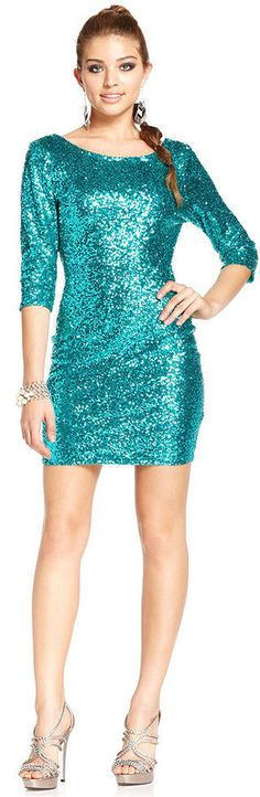 Ruby Rox Juniors Three-Quarter-Sleeve Sequin Dress is on sale now for - 25 % !