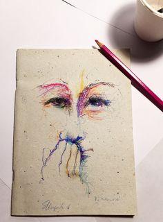 Handmade illustrated watercolour journal-Art book di gufobardo