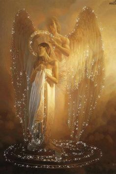 A guardian angel showering his charge with light and protection.