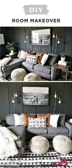 We can't get enough of this DIY living room makeover from Taryn, of Taryn Whiteaker. The charcoal gray hue of Rebel by KILZ Complete Coat Paint & Primer In One brings a dark and moody vibe to Taryn's home. Board and batten paneling add a subtle level of detail while white, gold, and brown accent colors bring balance to this space.