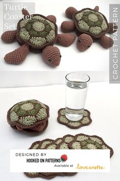 ~ Affiliate link CROCHET Turtle - This is a cute Coaster set of Turtle and Tortoise. Love Crochet, Crochet Ideas, Crochet Hooks, Crochet Projects, Cross Stitch Embroidery, Cross Stitch Patterns, Cute Coasters, Crochet Turtle, Modern Crochet Patterns