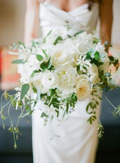 White bouquet: http://www.stylemepretty.com/2014/11/05/elegant-la-wedding-at-carondelet-house/ | Photography: Mi Belle Photography - http://mibelleinc.com/