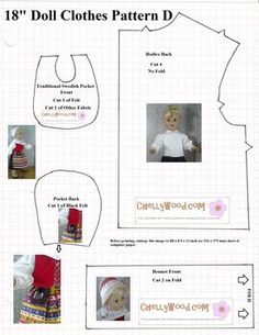 """Free traditional swedish outfit pattern for 18"""" dolls - blouse and pocket"""