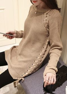 Round Neck Light Tan Lace Up Sweater