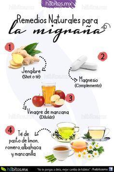 REMEDIOS NATURALES PARA ALIVIAR LA MIGRAÑA Jengibre, magnesio, vinagre de manzana, te de manzanilla romero albahaca