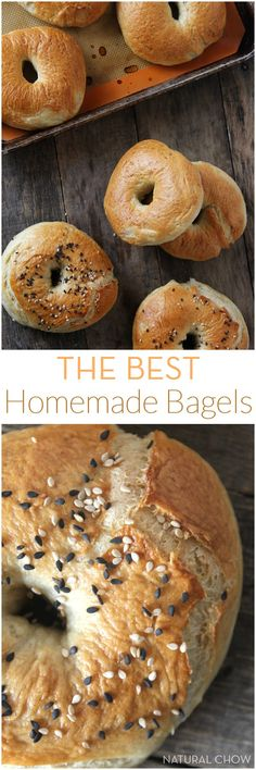The Best Homemade Bagels- Made with only 8 ingredients,are easy to make and taste heavenly. They're of much higher quality than the store bought kind and are also way cheaper! Bread Recipes, Cooking Recipes, Homemade Bagels, Homemade Desserts, Tasty, Yummy Food, Bread And Pastries, How To Make Bread, Bread Baking