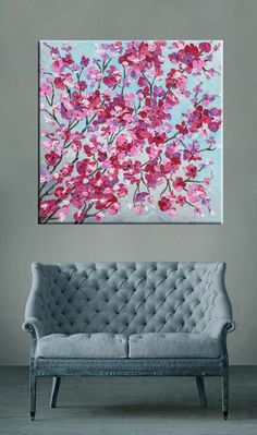 """Pink flowers, Cherry blossoms, Floral art Acrylic painting, Palette knife Textured painting, Modern art Flower painting 24"""" by Nikki Chauhan"""
