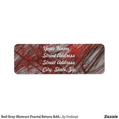 Red Gray Abstract Fractal Return Address Sticker Label