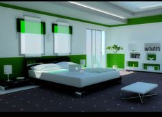 Elegant Green Bedroom for Modern Home Living:Grand Skylight Design In White Green Bedroom With White Bed Unit Black Frame Area Rug And Modern White Bookcase