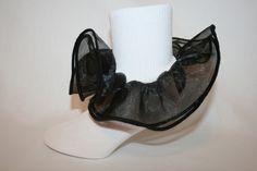 Girls White Nylon Socks with Black Organza Ruffle and Black Satin Ribbon Bows…
