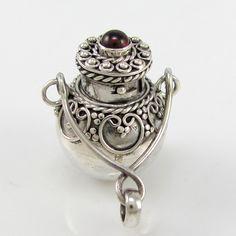 Round Cauldron Sterling Silver Garnet Perfume Bottle Pendant  G T