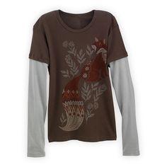 Wm Layered Look Fox USA-made Organic T-shirt in Holiday 2012 from Fair Indigo on shop.CatalogSpree.com, my personal digital mall.