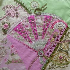 """I ❤ crazy quilting, beading & ribbon embroidery . . . Wendy's Block - My work top left.(""""just beautiful"""") ~By ivoryblushroses"""