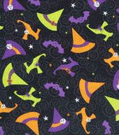 Holiday Inspirations Fabric-Witch Hats & Shoes Glitter