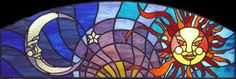 stained glass arch transom | Custom Made Celestial Stained Glass Transom Window