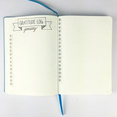 "Bullet Journal - Gratitude Log ""I pared down my Gratitude Log to two pages this month. I'm not sure if I'll like it this way, because I love coming up with 3 things to be grateful for each day (vs. the 2 allowed here)."""