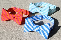 Easter Bow Ties - Boy's Bow Tie - Bright Blue and White Stripe - Easter - Adjustable Velcro Closure.