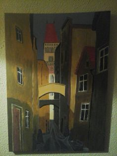 Old town Passau, Bavaria Germany, acrylic on canvas