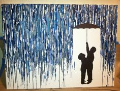 "This would be awesome for a headboard w/ a picture of the actual couple under the umbrella!!!! Melted Crayon Painting.. do one like this with ""UK"" on it"