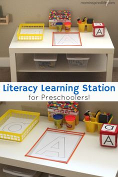 Literacy Learning Station for Preschoolers. A fun, hands-on way to develop literacy skills in preschoolers!