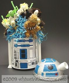 Hand painted R2D2 Star Wars lollipop party favors