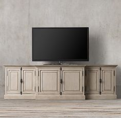 RH's French Panel Media Console:Panel doors and fine crown molding give our solid hardwood collection the gravitas of classic French furniture.