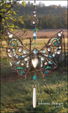 Wire Wrapped Multi Gemstone Silk Moth Suncatcher in от CathyHeery