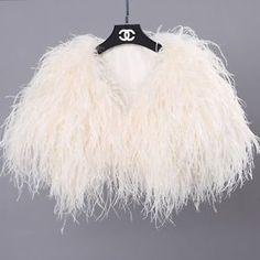 Details about Real Ostrich Feather Fur Handmade Shawl Shrug Jacket Vest Wedding bolero ! - SALLA Winter Wedding Coat, Wedding Fur, Wedding Jacket, Wedding Ideas, Trendy Wedding, Diy Wedding, Wedding Inspiration, Feather Cape, Feather Dress