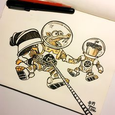 Inktober Drawing 19 - More Ice Age. This time it's Scrat chillin in space with his acorn. #inktober #inktober2016