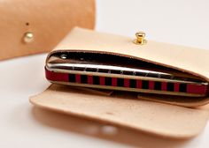 Folded Leather Harmonica Case