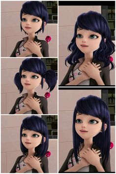 Marinette (Miraculous Ladybug) with different hair styles.