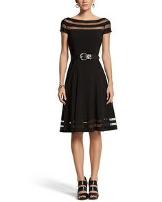 I really need this dress for convention! White House | Black Market Illusion Stripe Fit & Flare Dress #whbm