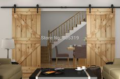 Heavy duty Double Sliding Barn Door modern wooden sliding barn door hardware