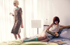 The Ladies  Photographed by Steven Pan, Alana Zimmer and Hanne Gaby Odiele live the privileged life with a dark edge for Interview Russias April issue. Karen Kaiser styles the duo in 50s inspired pieces from labels such as Valentino, Balenciaga and Christopher Kane worn with a laissez-faire attitude. Matching bobs by hair stylist Rita Mamor and flawless makeup by Benjamin Puckey perfect Alana and Hannes retro ensembles.