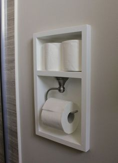 Between the studs, create a recessed area for your toilet paper with this bathroom remodel tutorial. More Remodeled Bathroom Ideas & Inspiring Makeovers on a Budget on Frugal Coupon Living. Source by fclash The post Remodeled Bathroom Ideas Bad Inspiration, Bathroom Inspiration, Bathroom Renos, Bathroom Renovations, Bathroom Furniture, Remodel Bathroom, Bathroom Cabinets, Master Bathrooms, Bathroom Bin