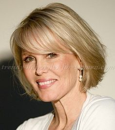 short hairstyles over 50, hairstyles over 60 - bob haircut with fringe
