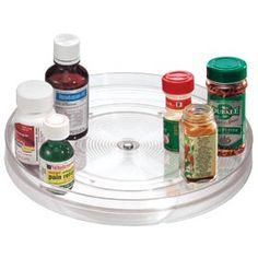 "Clear Turntable Nothing goes ""missing"" when it's organized on this turntable.  Buy 2 & Save!"