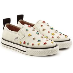 R.E.D. Valentino Embellished Slip-On Sneakers (€270) ❤ liked on Polyvore featuring shoes, sneakers, white, studded shoes, white slip on shoes, multi color shoes, white trainers and white sneakers